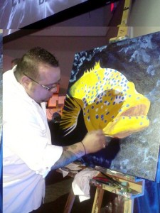 "Bill Correira ""BC Woo"" painting at the FARA Energy Ball, 2012."